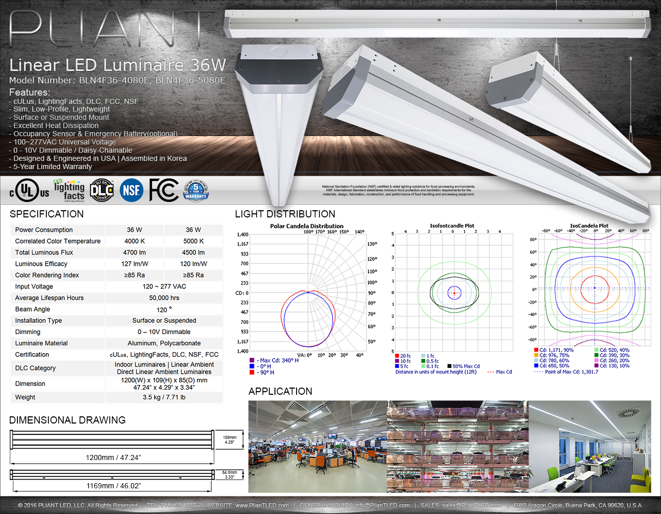 Linear LED Luminaire 36W PLIANT LED